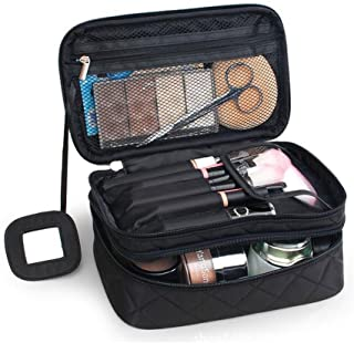 ONEGenug Cosmetic Makeup Bag & Organizer Double Layer Dot Pattern Travel Toiletry Bag Organizer With Mirror (Black Size M)