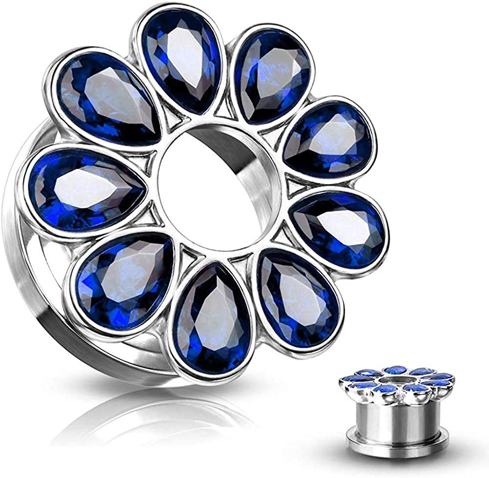 Covet Jewelry Zircon Set Flower All 316L Surgical Steel Screw Fit Flesh Tunnel Plugs