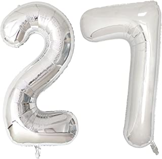 40inch Silver Foil 27 Helium Jumbo Digital Number Balloons, 27th Birthday Decoration for Girls or Boys,27 Birthday Party Supplies