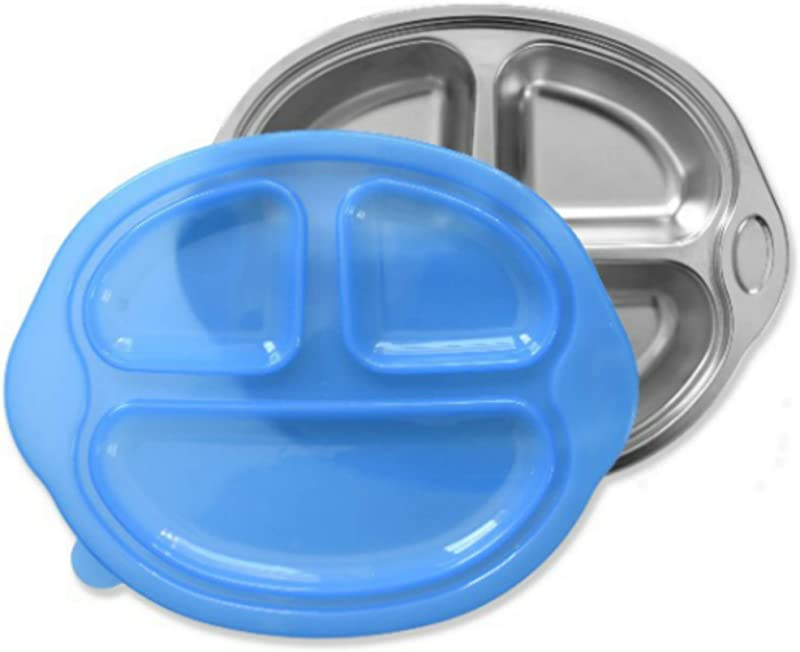 Sage Spoonfuls Happy Foodie Stainless Steel Divided Kids Plate With Lid Blue