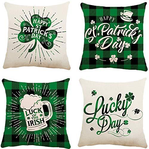 Glaring Juego de 4 fundas de almohada para decoración del día de San Patricio de 45,7 x 45,7 cm, para decoración del hogar con trébol irlandés
