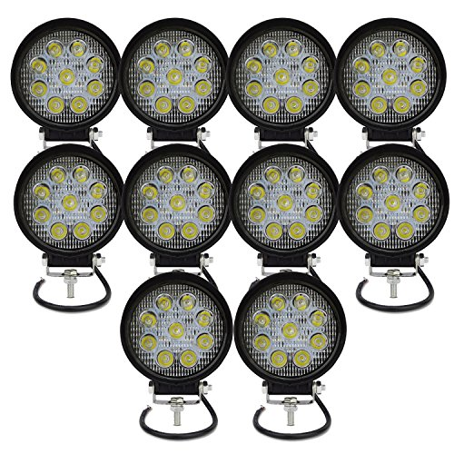 AUXTINGS Faros de Trabajo Led,27W Luces Trabajo Led Flood LED Light Bar Montaje de luces de antiniebla 2700LM IP67 Impermeable para Off-Road, Camión,Coche, ATV, SUV, Barco(10PCS)