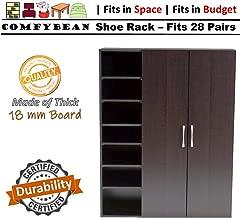 ComfyBean-Benicio Shoe Cabinet-Engineered Wood-2 Door Shoe Rack (Fits : 28 Pairs, Finish : Woodpore Laminate Finish, Color : Dark Wenge)