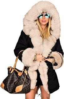 Aox Women Hood Coat Faux Fur Thicken Lined Overcoat Winter Camo Plus Size Jacket Snow Parka