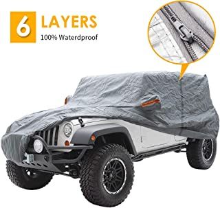 "Big Ant Car Cover for Jeep Wrangler 2 Door Jeep SUV Covers All Weather Protection 100% Waterproof SUV Cover Customer Fit for Jeep Wrangler up to 170"" L,Gray with Driver Door Zipper"