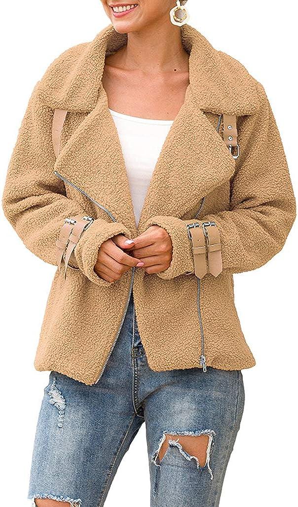 Lookwoild Women Zip Up Fleece Jacket Fuzzy Faux Shearling Outwear Long Sleeve Lapel Warm Winter Coat (Khaki, XL)