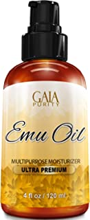 Gaia Purity Emu Oil - Large 4oz - Best Natural Oil for Face, Skin, Hair Growth, Stretch Marks, Scars, Nails, Muscle & Joint Pain, and More