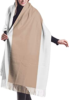 Chic Light Taupe Brown Bold Mod Stripes Shawl Wrap Winter Warm Scarf Cape Large Scarf Oversized Scarves For Women