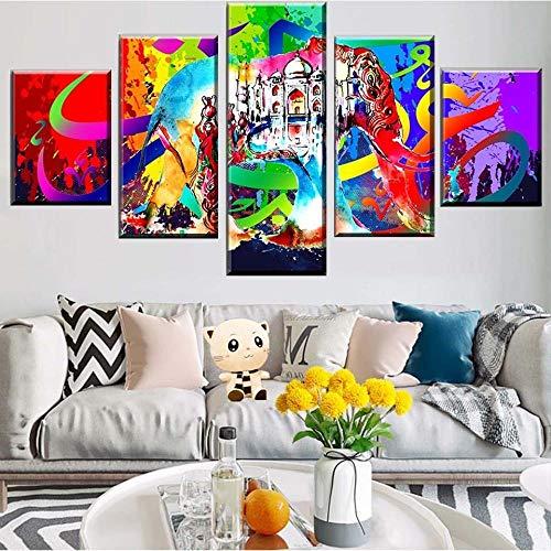 hgjfg Cuadro sobre Impresión Lienzo 5 Piezas Listo para Colgar un Marco Color Abstracto Elefante Indio Taj Mahal HD Arte De Pared Modulares Sala De Estar Dormitorios Decoración para El Hogar Póster
