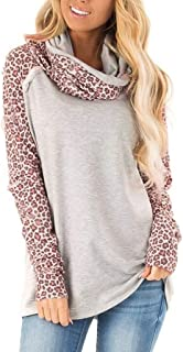 HNTDG Women Turtleneck Sweater Casual Bow Neck Sweatshirt Leopard Patchwork Ladies Blouse Pullover