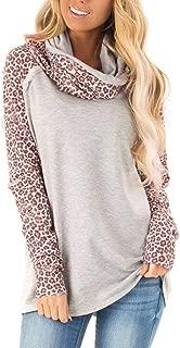 HNTDG Women Turtleneck Sweater Casual Bow Neck Sweatshirt Leopard Patchwork Ladies Blouse Pullover