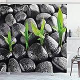 N\A Cortina de baño de Plantas, Piedras de basalto con Hojas de bambú Que pegan Gotas de Agua Armonía de la Naturaleza, Juego de decoración de baño de Tela de Tela con Ganchos, marrón Oscuro