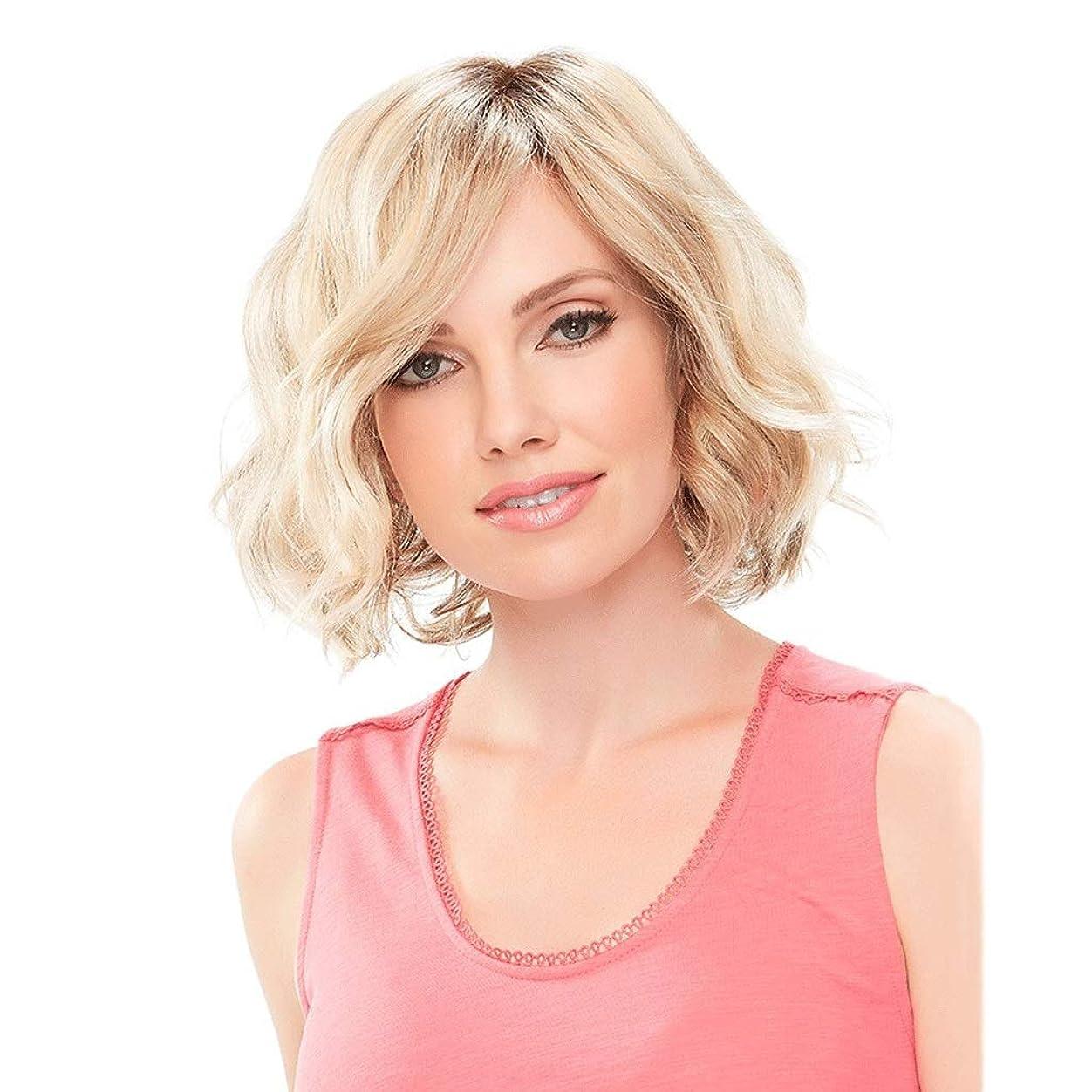 明確にフィクション火山の女性用ウィッグブロンドミディアムレングスウェーブのかかった人工毛ウィッグサイド別れ、ナチュラルヘアライン/ 150%密度女性用コスプレ (Color : Blond)