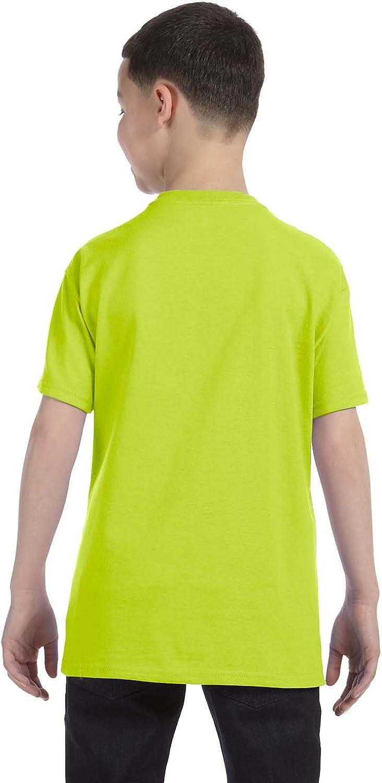 Gildan boys Heavy Cotton T-Shirt(G500B)-SAFETY GREEN-S