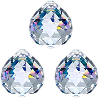 JIHUI Crystal Ball Prisms Suncatcher Window Decorative Prism Rainbow Maker Feng Shui 40mm/1.57 inches Clear Pack of 3