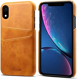 SHUANGRUIYUAN with Card Slots, Calf Texture Protective Case for iPhone XR (Color : Brown)