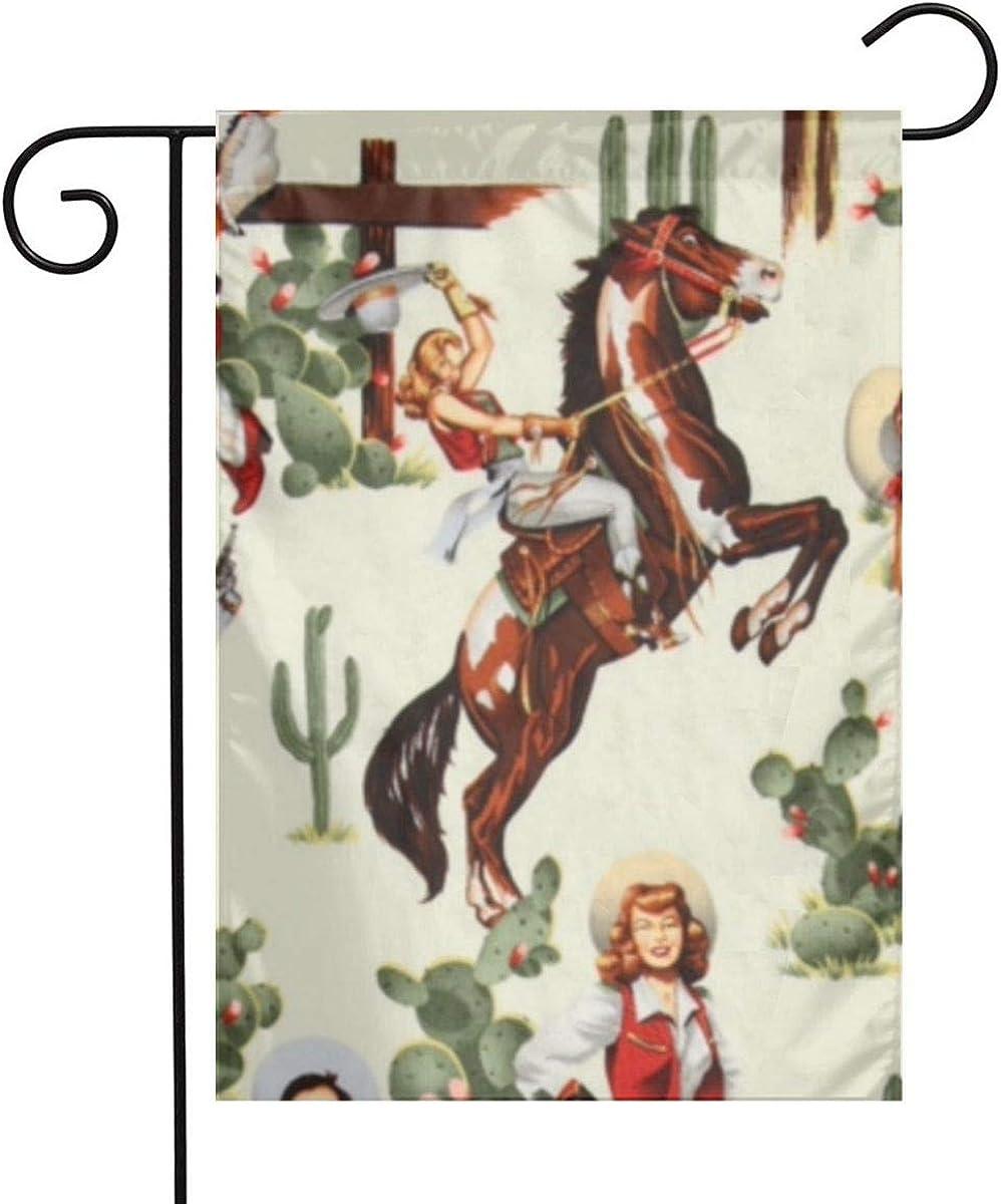 Outdoor Garden Cowgirl Western Girl Flag 12 X 18 Inch Farmhouse Burlap Yard Outdoor Decor