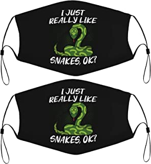 Snake Lover Kids Face Masks Set of 2 with 4 Filters Washable Reusable Breathable Black Cloth Bandanas Scarf for Unisex Boy...