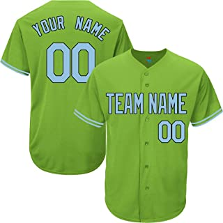 Light Green Custom Baseball Jersey for Men Women Youth Replica Embroidered Team Name & Numbers S-5XL Light Blue Black