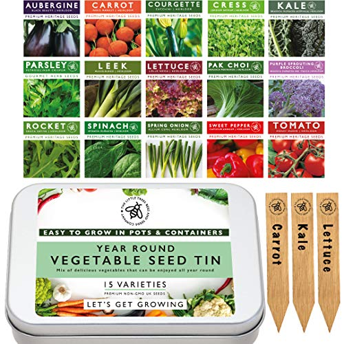 Gardening Vegetable Seed Tin: 15 Varieties of Heirloom Garden Vegetables Perfect for Small Spaces, Pots, Patio & Balconies. Premium Heritage Vegetable Seeds, The Little Trees Bees and Seeds Company