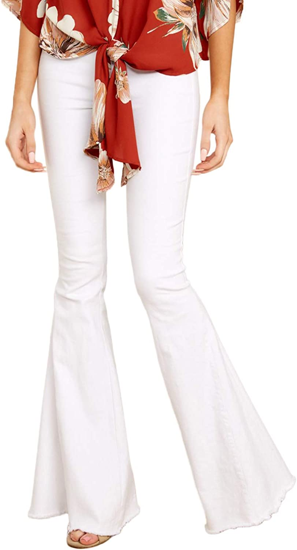 Aleumdr Women Denim Pants Ankle Length Wash Vintage Wide Leg Flare Jeans Plus Size Tall (S2XL)