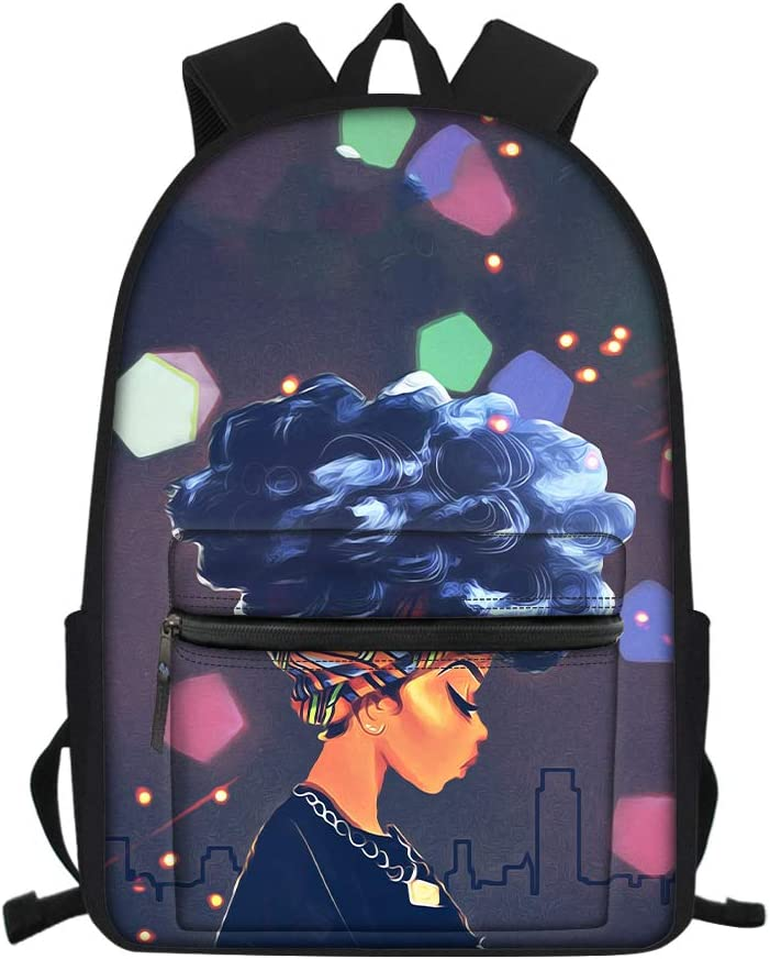 Aulaygo Afro Girls School Backpack Bag for Kids Lovely Bookbag with Black American Girl Pattern Cool Daypack for Girls