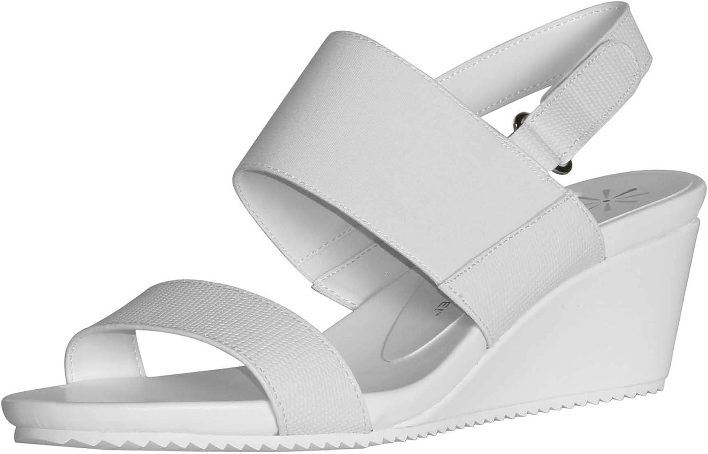 Isaac Mizrahi Live  Women's Aubrey Double Strap Wedge Sandals-gold