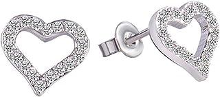 925 Sterling Silver Plated Cubic Zirconia Hollow Love Heart Shape Women Post Stud Earrings