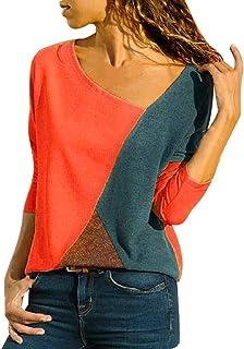 4c2e311bbf72c Kiminana Women O-Neck Splicing Color Collision Long Sleeves Plus Size Easy Tops  Blouses