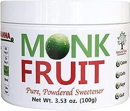 100% Monk Fruit Sweetener - Zero Calorie, Zero Carb, Paleo Safe Sweetener - (7% Mogroside V, 100g, 555 Servings)