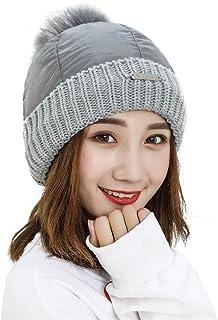 Women Winter Hat Warm Beanie Hat Cap Fleece Lining Girls Knitted Nylon Hat