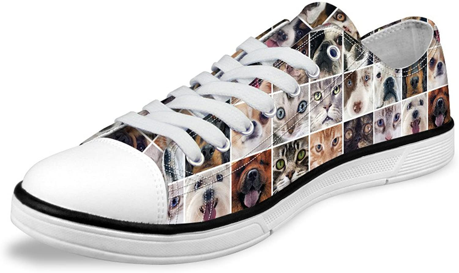 Teen Boys Girls Canvas shoes Cool Animal Dog Pattern Low Top Lace Up shoes