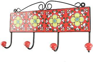 Indianshelf Lot de 1 crochets en céramique pour vêtements Motif floral Rouge