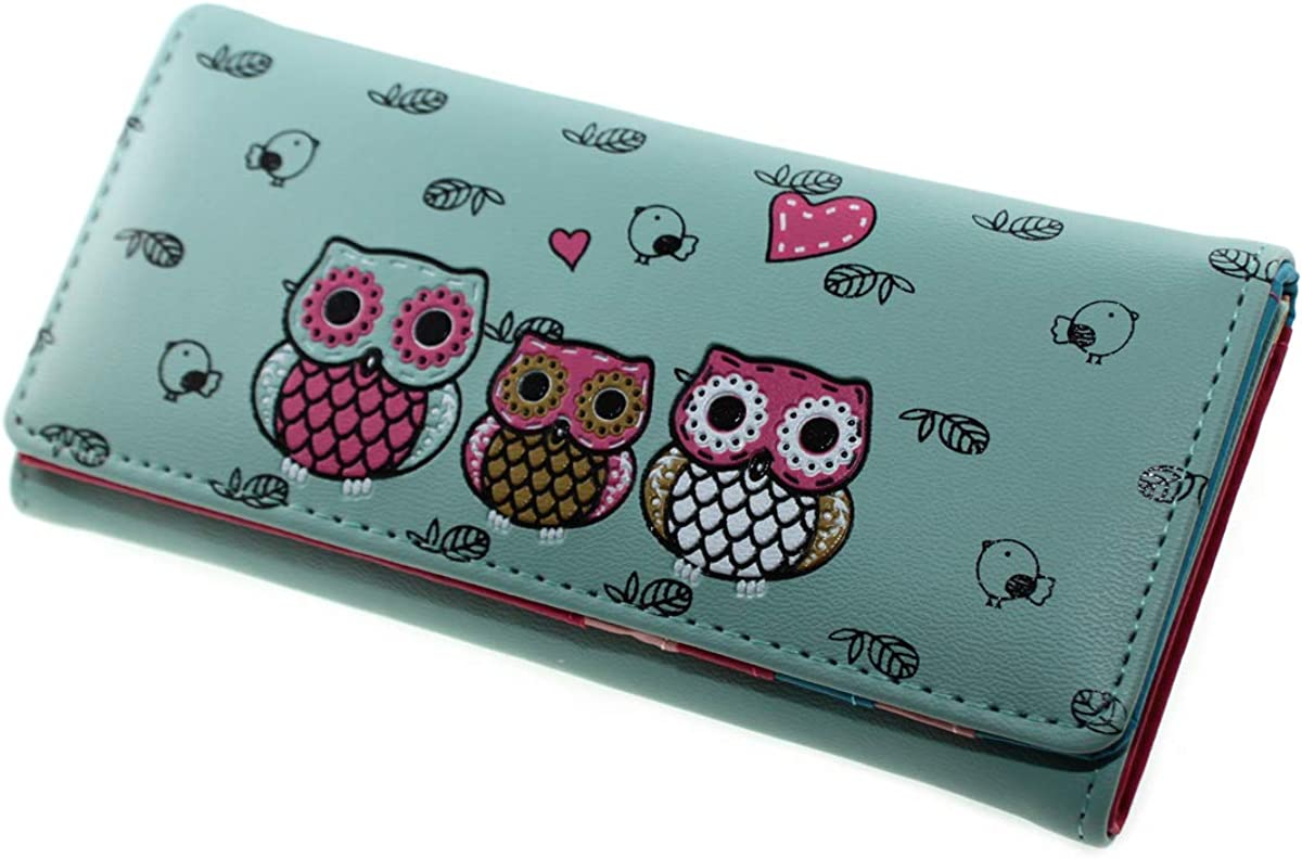 Cute Owl Cartoon Faux Leather Trifold Branded goods Coin Max 63% OFF Wallet Long Purs Cash