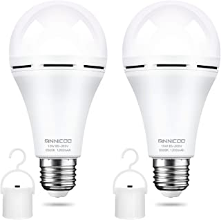 Rechargeable Emergency Light Bulb for Power Outage Battery Operated 6500K 1200mAh 15W 80W Equivalent LED Bulb with Hook fo...