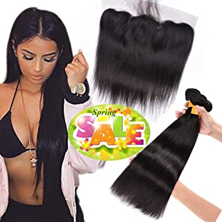 Straight Bundles 100% Unprocessed Malaysian Virgin Human Hair Weave Weft Extensions 3 Bundles 22 24 26 with 20 Frontal Closure 13×4 Ear To Ear Lace Frontal Closure Natural Black Color