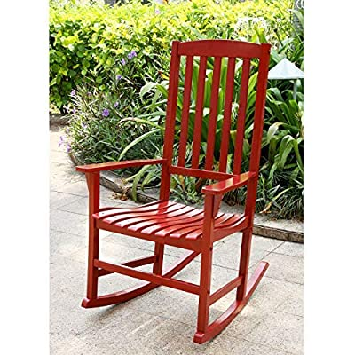 Cambridge Casual Solid Wood Bentley Porch Rocking Chair, Red