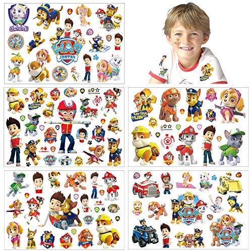 Temporäre Tattoo Set Kinder Tattoos für Paw Patrol,100+ pcs 5 Blätter Paw Patrol Kindertattoos Aufkleber Stickers für Geschenktüten Kindergeburtstag Mitgebsel Mädchen Jungen