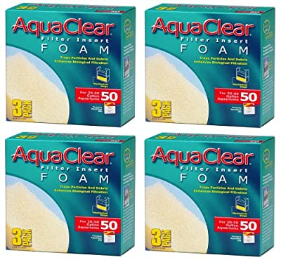 (4 Pack) Aqua Clear Foam Inserts for 50 Gallon Aquariums (3 Ct. Per Pack / 12 Total Inserts)