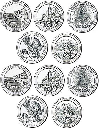2012 Various Mint Marks National Parks Set P & D Mints (10 Coins) Uncirculated