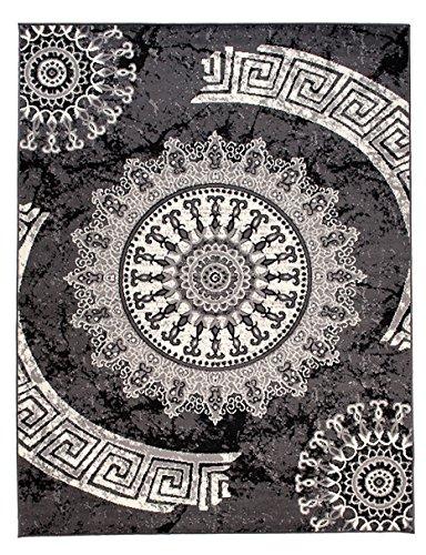 Carpeto Rugs Tapis Salon Gris 200 x 300 cm Classique Geometrique/Monaco Collection