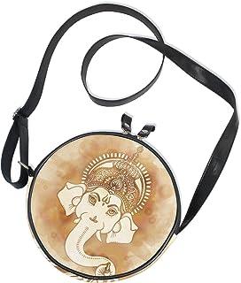 Ahomy Damen-Umhängetasche, rund, indisches Gottmuster, Handy, Mini-Umhängetasche, Geldbörse