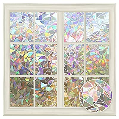"""LUTE Window Privacy Film, Rainbow Window Clings, 3D Decorative Window Vinyl, Stained Glass Window Decals, Static Cling Window Sticker Removable Non-Adhesive UV Blocking (23.6"""" x 78.7"""" (60 x 200 cm))"""