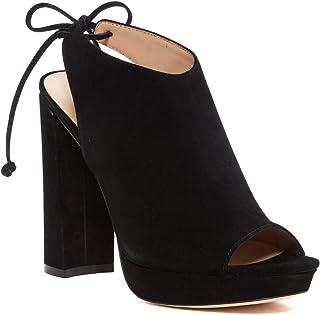 Pour La Victoire Women's Yanna Black Suede Blocked Heel Platform Peep Toe Lace Up Bootie (9)