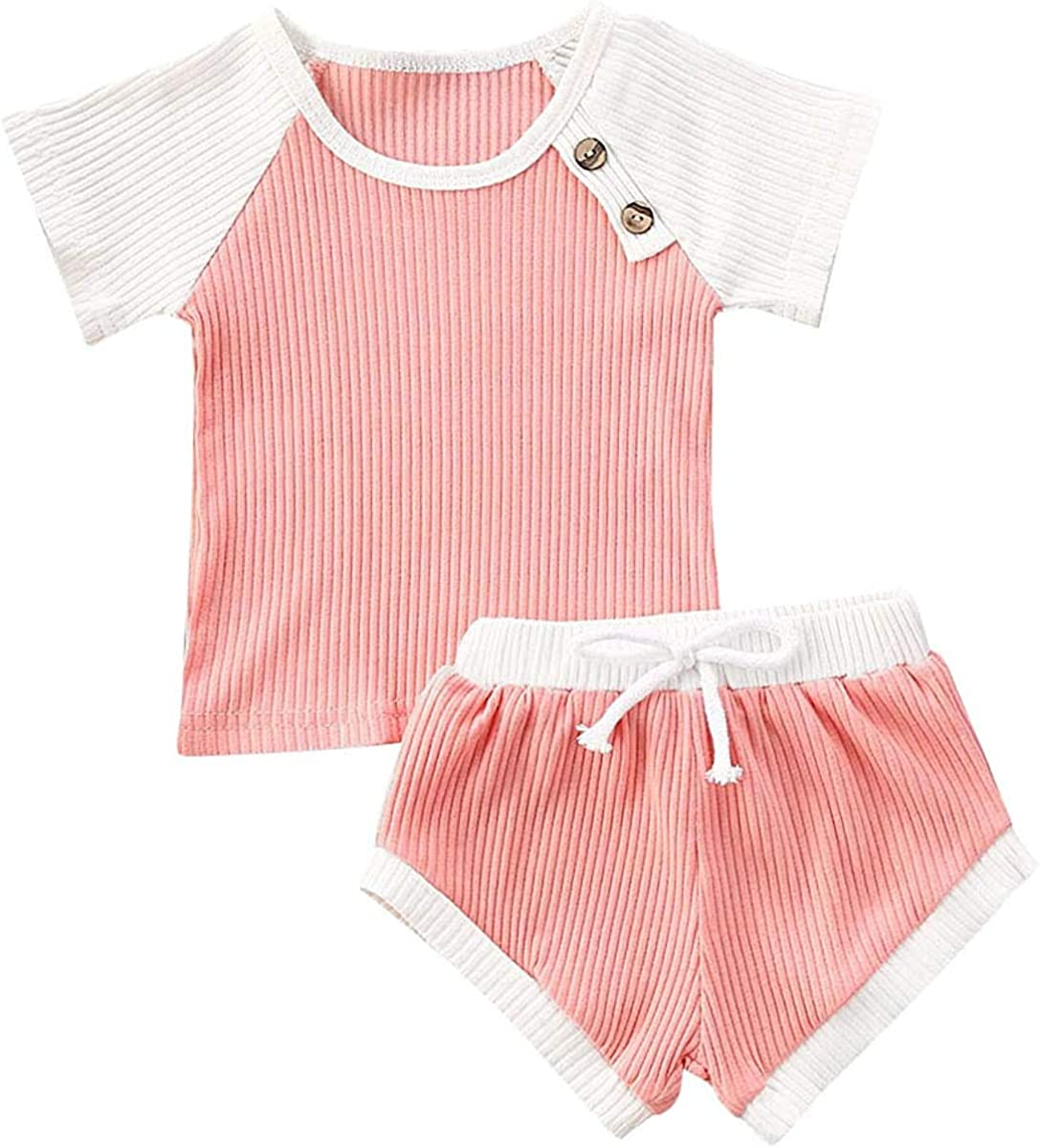 Baby Girls Boys Clothes Kids Newborn Boy Girl Knitted Short Sleeve Top with Shorts 2Pcs Pant Outfits Set