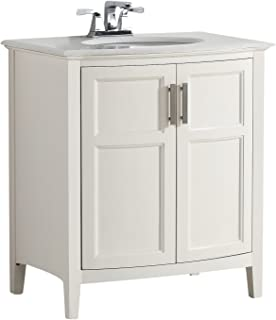 Simpli Home 4AXCVWNRW-30 Winston 30 inch Contemporary Bath Vanity in Soft White with Bombay White Engineered Quartz Marble Top