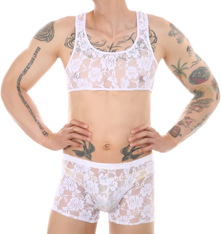 Lejafay Men's Sleepwear Lace Pajamas Set Sexy Sheer Nightwear Bralette Top and Shorts Lingerie Set
