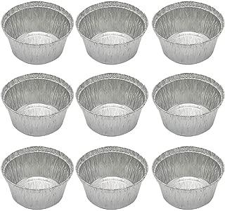 BESTONZON 50 piezas desechables de aluminio Tarta de tarta Pands sartenes para hornear redondas para hornear Quiche Party Potluck Catering 285ML (Sin tapa)