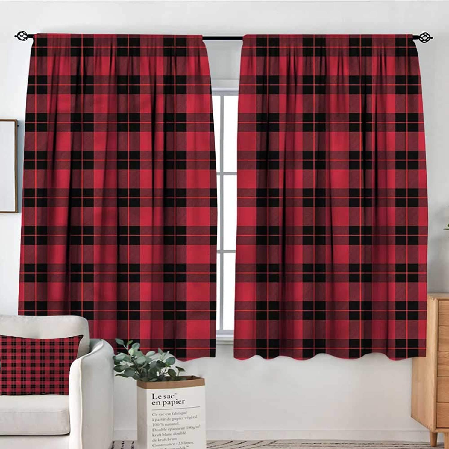 PriceTextile Plaid,Rod Curtains Geometrical Scottish Ornament 42 X63  Backout Curtains for Kids Iving Room