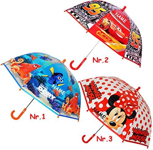 alles-meine.de GmbH Kinder Regenschirm -  Disney Cars - Auto Lightning McQueen  - incl. Name - Kinderschirm - leicht transparent Ø 73 cm - Glockenschirm / Kinderregenschirm - S..